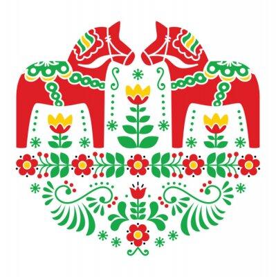 Poster Schwede Dala Pferd oder Daleclarian Blumenvolksmuster
