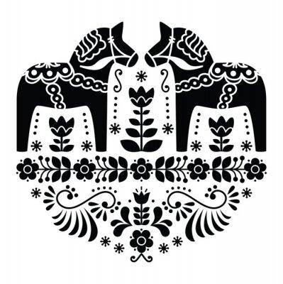 Poster Schwede Dala Pferd oder Daleclarian Volksmuster in schwarz