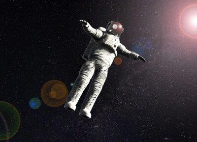 Poster Schwimmenden Astronauten im Raum mit Sonne