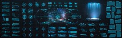 Poster Sci-fi digital interface HUD  elements mega set pack. User Interface, frame screens. Callouts titles, FUI circle set, Loading bars. Dashboard display virtual reality technology screen. Vector
