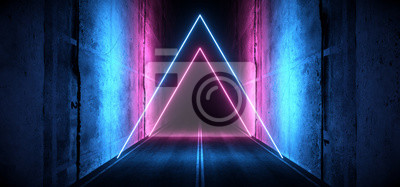 Poster Sci Fi Futuristic Asphalt Cement Road Double Lined Concrete Walls Underground Dark Night Car Show Neon Laser Triangles Glowing Purple Blue Arc Virtual Stage Showroom 3D Rendering