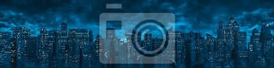 Poster Science fiction city night panorama / 3D illustration of dark futuristic sci-fi city under dark cloudy night sky
