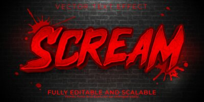 Poster Scream editable text effect, dead and scary text style.