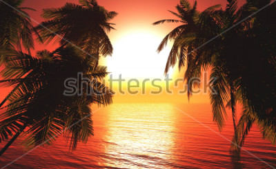 Poster sea sunset among the palm trees, the sun over the water in the palm trees,3D rendering