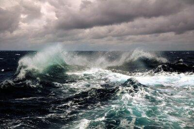 Poster sea wave in atlantic ocean during storm