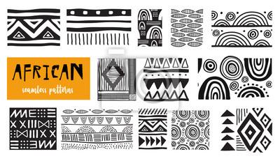 Poster Seamless African modern art patterns. Vector collection