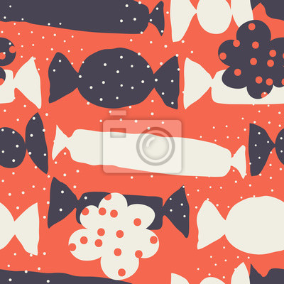 Seamless childish pattern with candies and flowers. Vector illustration.