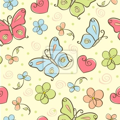 Poster seamless cute background with butterfly