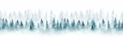 Poster Seamless pattern with foggy spruce forest. Fir trees isolated on white background.