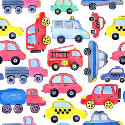 Poster Seamless pattern with watercolor cartoon cars and spare parts. Design of children's clothing, wallpaper, packaging, background, wall