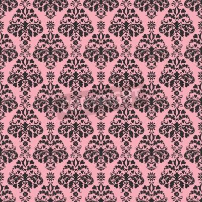 Poster Seamless Pink   Black Damask