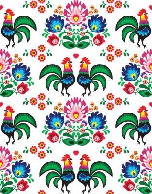Poster Seamless Polish folk art pattern - Wzory Lowickie, wycinanka
