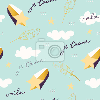 """Seamless scandinavian childish pattern. Lovely pattern for kids with sign """"Je T'aime"""" - I love you in english. Vector illustration. Scandinavian style pattern template for fabric, wrapping, textile."""