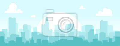 Poster Seamless silhouette of the city. Cityscape with buildings. Simple blue background. Urban landscape. Beautiful template. Modern city with layers. Flat style vector illustration.