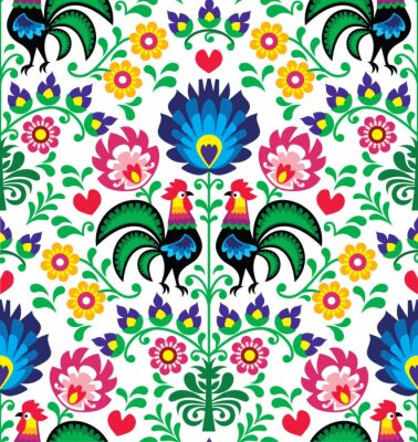 Poster Seamless traditional floral Polish pattern - Wzory Łowickie