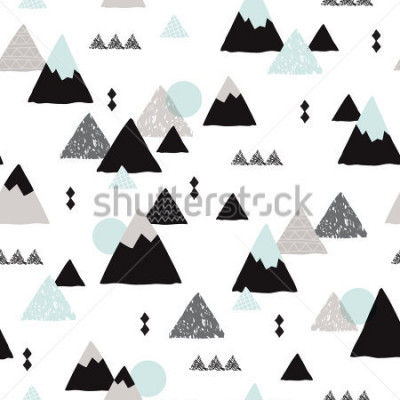 Poster Seamless winter wonderland geometric japanese fuji mountain theme illustration triangle abstract landscape background pattern in vector