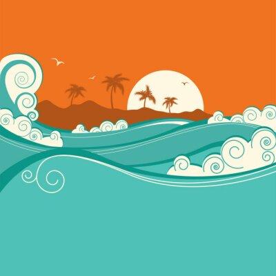 Poster Seaside background.Vector Abbildung