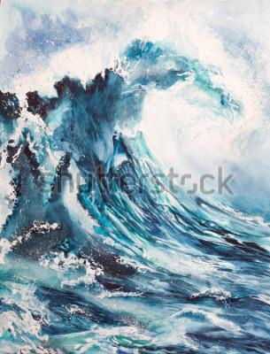 Poster Seewellen-Aquarellmalerei