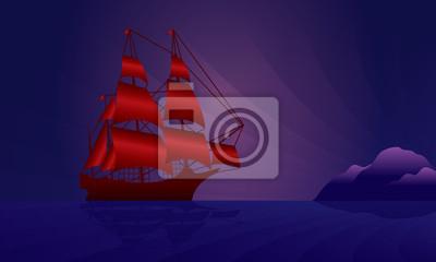 Segelschiff in der Nacht Skyline