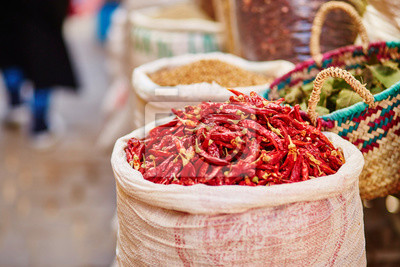 Selection of chili peppers on a traditional Moroccan market