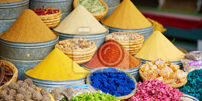 Selection of spices on a Moroccan market
