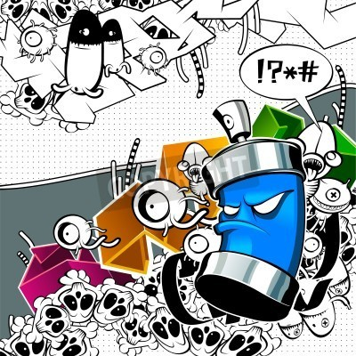 Poster Seltsam Graffitibild mit Dose