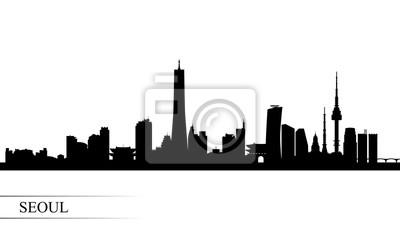 Seoul city skyline silhouette background