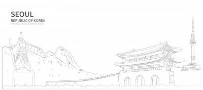 Poster Seoul cityscape line vector. sketch style south korea landmark illustration