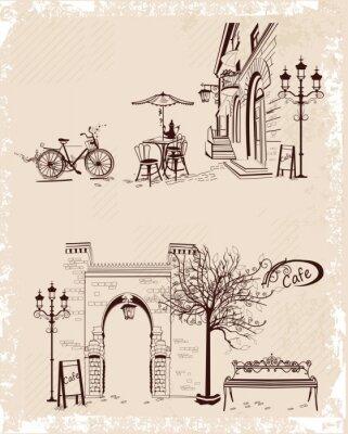 Poster Serie von Hintergründen mit alten Stadtansichten und Straßencafés eingerichtet.