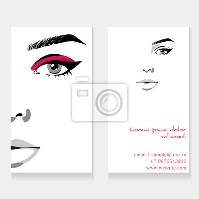 Poster Set business card template for makeup artist. Beautiful woman portrait with eyeliner make up fashion illustration. Beauty makeup artist business card concept. Hand drawn graphic in watercolor style