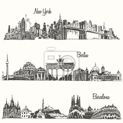 Set cities New york Berlin Barcelona vector sketch