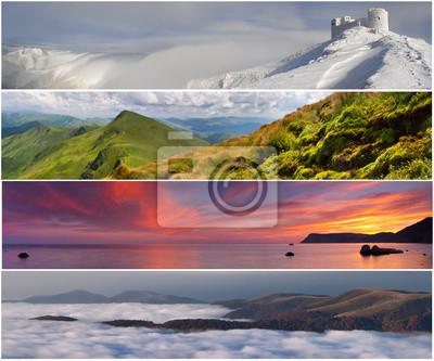 Set der 4 Jahreszeiten Landschaft für Banner
