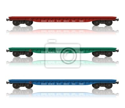 Poster Set Eisenbahn flatcars