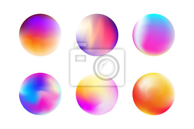 Poster Set gradient colorful sphere in trendy style