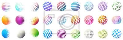 Poster Set minimalistischer Formen. Halbton helle Farbkugeln isoliert auf weißem Hintergrund. Stilvolle Embleme. Vector Kugeln mit Punkten, Streifen, Dreiecke, Sechsecke für Webdesigns. Einfache Zeichen Samm