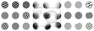 Poster Set minimalistischer Formen. Halbton schwarze Farbkugeln isoliert auf weißem Hintergrund. Stilvolle Embleme. Vector Kugeln mit Punkten, Streifen, Dreiecke, Sechsecke für Webdesigns. Einfache Zeichen S