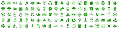 Poster Set of 100 ecology icons. Eco green signs. Nature symbol – stock vector