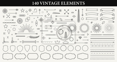 Poster Set of 140 Vintage line elements. Retro design elements. Ornaments and Frames. Drawing geometrics line. Decoration, banners, posters, emblems, labels. Vector illustration.