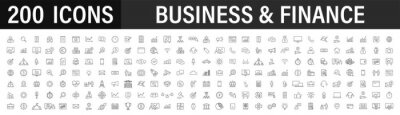 Poster Set of 200 Business icons. Business and Finance web icons in line style. Money, bank, contact, infographic. Icon collection. Vector illustration.