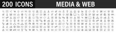 Poster Set of 200 Media and Web icons in line style. Data analytics, Digital marketing, Management, Message, Phone. Vector illustration.