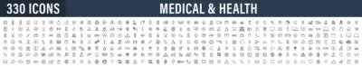 Poster Set of 330 Medical and Health web icons in line style. Medicine and Health Care, RX, infographic. Vector illustration.