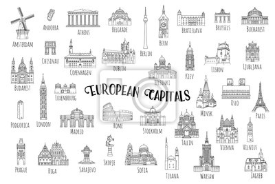 Poster Set of 37 hand drawn landmarks from various European capitals, black ink illustrations