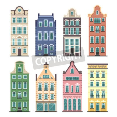 Set of 8 Amsterdam old houses cartoon facades. Traditional architecture of Netherlands. Colorful flat isolated illustrations in the Dutch style.