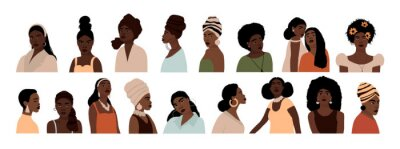 Poster Set of abstract african american woman portraits isolated on white background. Modern young feminine woman with dark skin fashion minimal trendy people face flat style. Vector hand drawn illustration