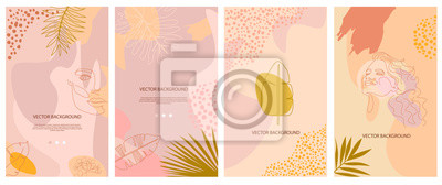 Poster Set of abstract background with tropical elements, shapes and girl portrait in one line style. Background for mobile app page minimalistic style. Vector illustration