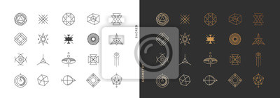Poster Set of abstract sacred geometry symbol vector elements template, clean minimal geometric logo collection