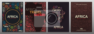Poster Set of Africa banners. Safari Park. Colorful illustration with hand draw doodle Background.