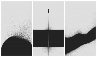Poster Set of black and white backgrounds with dust explosion and particle spraying