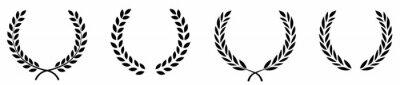 Poster Set of black circular foliate laurels branches.Laurel wreath.Silhouette laurel wreath. Heraldic trophy crest, Greek and Roman olive branch award, winner round emblem. Vector black laurels set