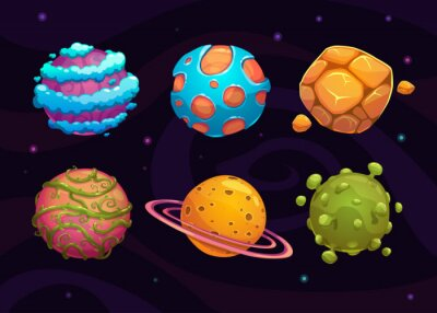 Poster Set of cartoon fantasy planet